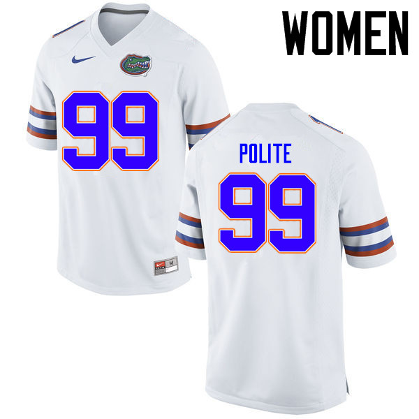 Women Florida Gators #99 Jachai Polite College Football Jerseys Sale-White